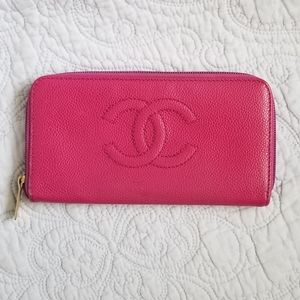 Chanel Pink Zippy Caviar Leather Wallet